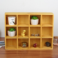 Wooden Shelf Wall Hanging Sundries Box Bedside 12 Section 3 layer Sorting Storage Racks Wooden Home Organizer Display Decoration