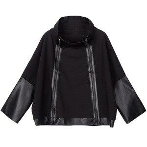 Image 5 - מקסימום לולו סתיו אופנה קוריאני סגנון גבירותיי פאנק Streetwear נשים שחור עור טלאי מעיל רוכסן בציר גולף מעיל