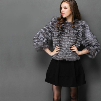 EMS SHIPPING*2015 NEW ARRIVAL, 100% NATURAL SILVER FOX FUR COAT/ REAL SILVER FOX FUR JACKET STRIPES SHORT DESIGN NO.SU-1525 2
