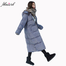 2017 winter new medium-length section of the package clothing cotton loose loose over the long knee clothes with hat long cotton