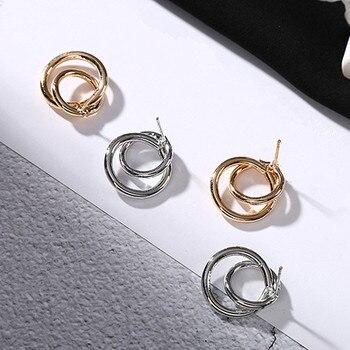 Stud Earrings Women Double Round Geometric Earring Fashion Jewelry  5