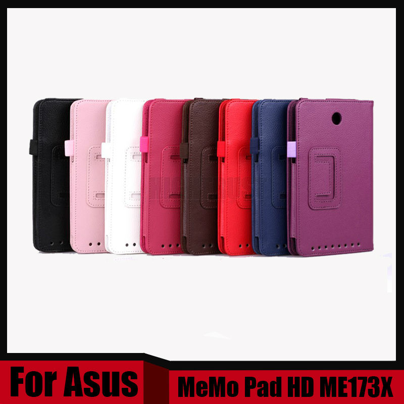 3 in 1 Leather PU Case For ASUS MeMO Pad HD 7 ME173X ME173 7 inch Tablet 7'' Flip Stand Smart Cover Cases + Screen Film + Stylus  universal 7 inch tablet case for huawei mediapad 7 youth 2 s7 721u for asus memo pad hd 7 me173x flip stand leather cover y2c43d
