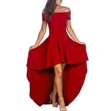 Women Dress Sexy Casual Off Shoulder Backless Irregular Short Sleeve Dress Evening Party Slash neck Sexy Dress Women Summer