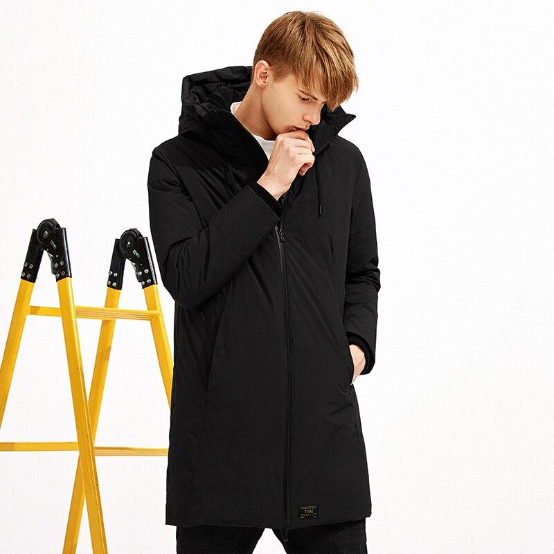 Pioneer Camp longo inverno engrossar para baixo homens jaqueta de marca de roupas pato branco com capuz para baixo parka quente para baixo casaco masculino preto AYR701387