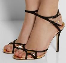 Led Schuhe Für Erwachsene 2015 Neu Kommen Schnalle Hohe Dünne Heels Schnalle Ankle-Wrap Offenen Seite Plus Größe Frauen Sommer Stil