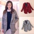Girls coat loose rich children Cardigan children's clothing grid coat