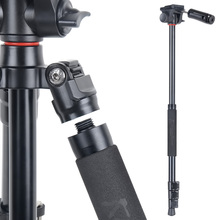 Transportable Aluminum Digicam Tripod with Video Head for DSLR Cameras and Smartphone Three in 1 Selfie Stick and monopod with one Tripod