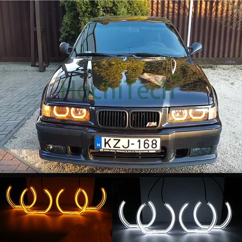 Pour BMW E36 3 Série Coupé et cabriolet Blanc & Ambre Double couleur DTM Style LED Ange yeux clignotants lumière