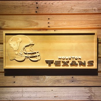 Houston Texans Helmet 3D Wooden Bar Sign