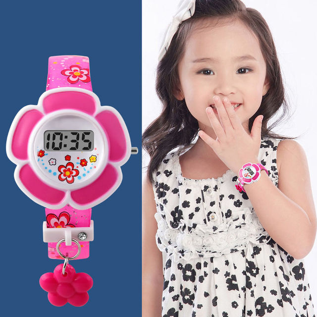 2016 New Lovely Flower Cute Kids Watches Children LED Watches Cartoon Silicone Digital Wristwatch For Boys Girls