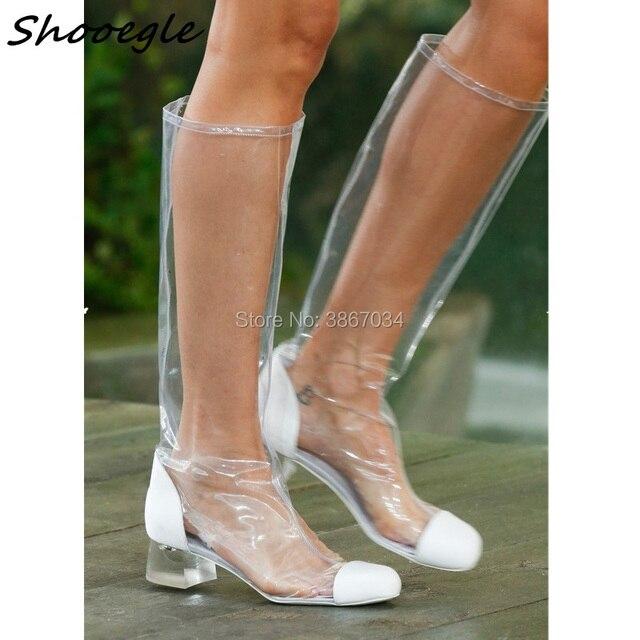 139e3730c319b SHOOEGLE 2018 Trend Plastic Bag Boots Chunky Heel Knee High Gladiator Women  Sandals Clear PVC Transparent Runway Summer Boots