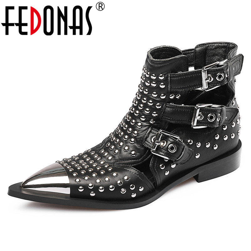 FEDONAS 2019 Brand Design Pointed Toe Women Ankle Boots Fashion Punk Rivet High Heels Party Shoes Woman Hollow Summer ShoesFEDONAS 2019 Brand Design Pointed Toe Women Ankle Boots Fashion Punk Rivet High Heels Party Shoes Woman Hollow Summer Shoes