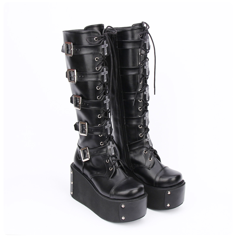 Angelic imprint PU Leather Round Toe Punk style Lolita boots Knee Lace Up High Boots Stars Lolita Shoes size 35-46 7008 angelic imprint gothic lolita style platform shoes new fashion lolita sandals size 35 46 8276