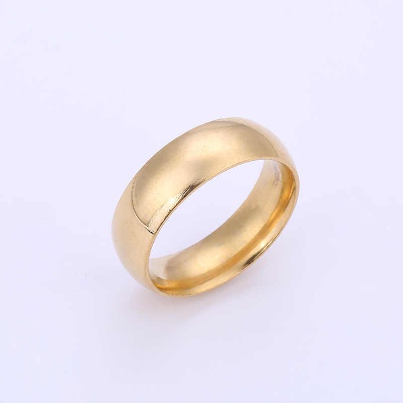Anéis de casamento de aço inoxidável para mulheres anéis de casamento por atacado anti-alergia suave simples anéis de casamento para homem ou mulher