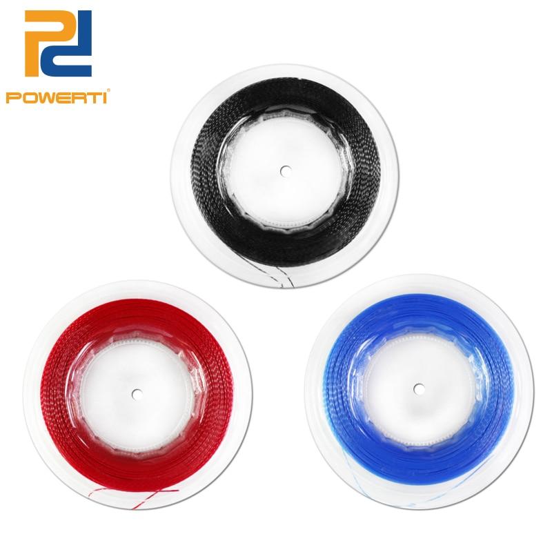 POWERTI 1.2mm Co-polyester Tennis Racket Black Twister/ Twist Polyester Racquet string 200 Meters /Reel for Training Sport стоимость