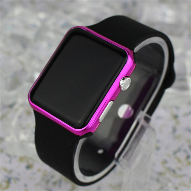 New Blue light Square Mirror Face Silicone Band Digital Watches LED Watches Metal frame WristWatch Sport Clock Hours 4 colour 3