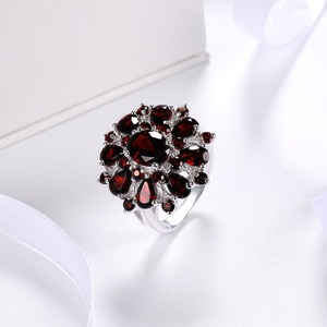 Image 2 - Silver Garnet Ring 925 Jewelry Gemstone 7.54ct Natural Black Garnet Rings for Womens Fine Jewelry Classic Design Christmas Gift