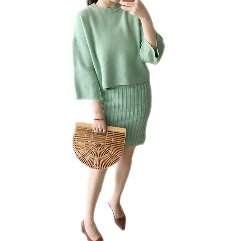 2020 Women Two Piece Set Knitted Winter Sweaters Dress Suit Female Bodycon Elegant Wool Knitwear Elastic Cashmere Pullovers A63