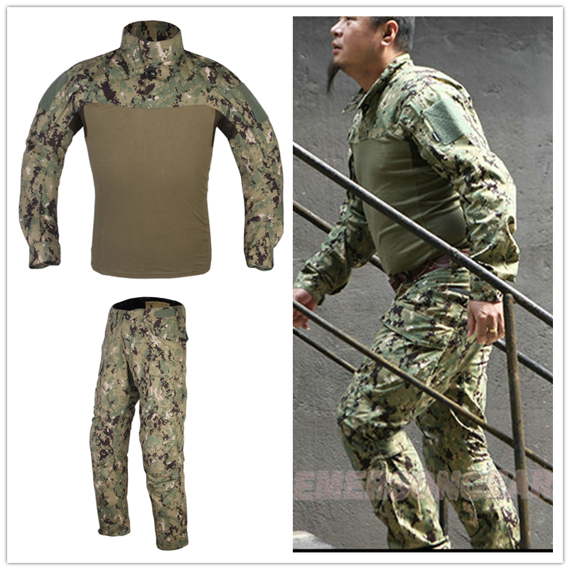 ФОТО EmersonGear Assault Pants+Shrits Urban Tactical Mens Military Combat Assault Outdoor Sport SWAT Training Army Ghillie Suits YKK