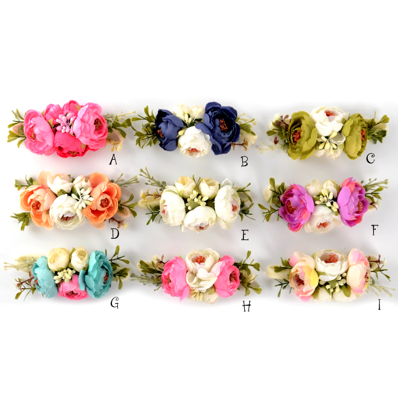 Satin Flower Nylon Headband Faux Flower Crown Headband Infant Hair Accessory Kidocheese retail triple satin flower rosettes feather baby headband vintage burlap lace hairband kidocheese