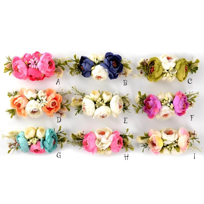 Satin Flower Nylon Baby Headbands Floral Crown Hairbands Infant Haarband Opaska Dla Dziewczynki Accessory Kidocheese
