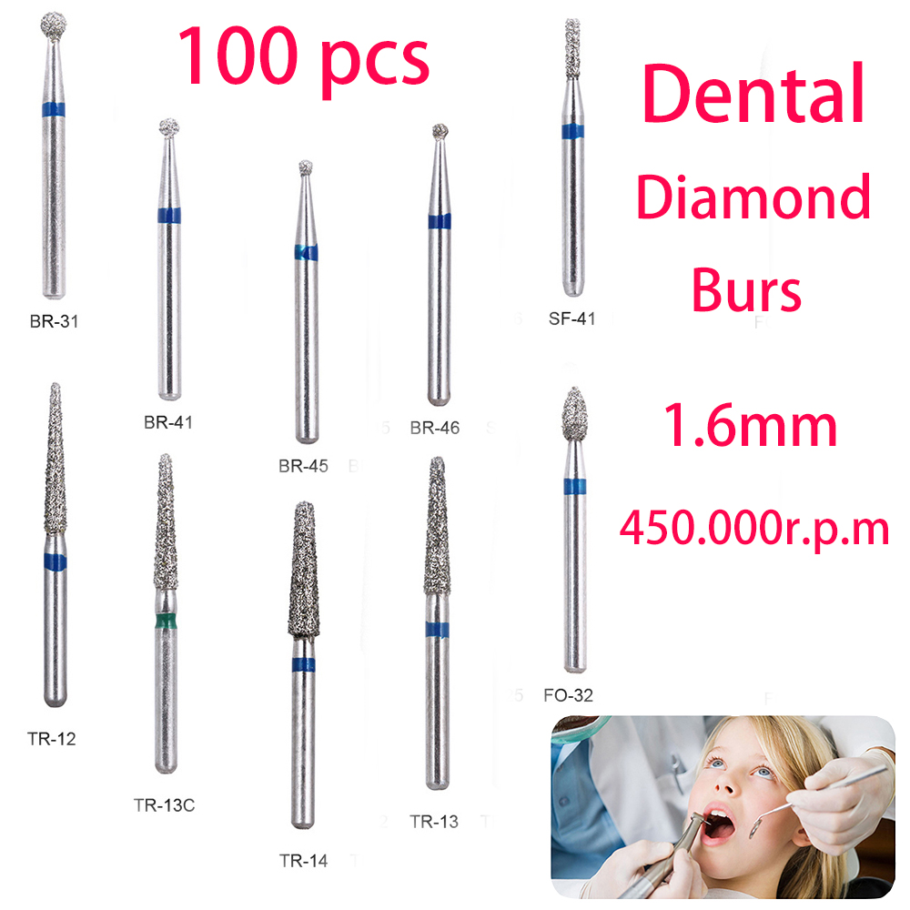 BR-31 Dental Diamond Burs Drill Dentistry Burs High Speed Handpiece Handle Diameter 1.6mm Dentist Tools BR-41 TR-13 FO32
