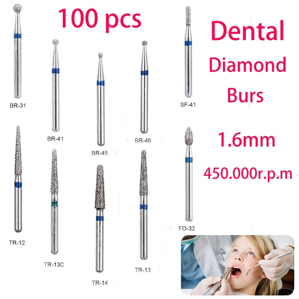 BR-31 Dental Diamond Burs Drill Dentistry Burs High Speed Handpiece Handle Diameter 1.6mm Dentist Tools BR-41 TR-13 FO32