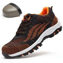 Hot Shoes European Standard Steel Toe Work Safety Shoes Men,Lightweight Warm Sneakers,Non-slip Anti-smashing Mesh Worker Boots