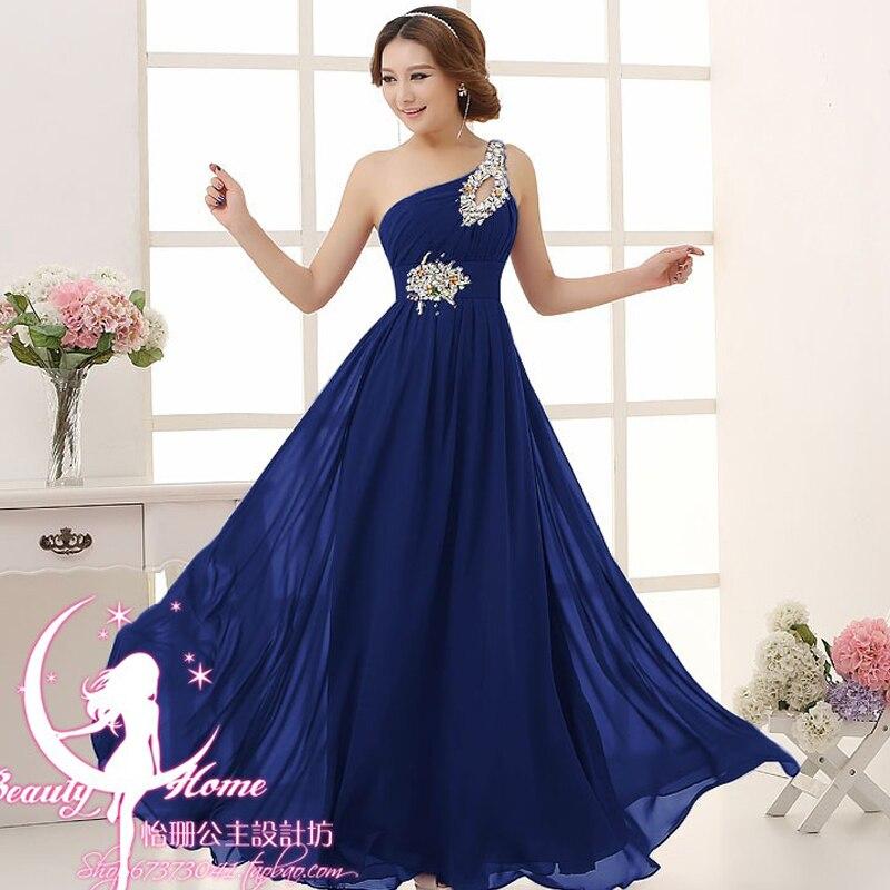 Халат d'd'honneur горячий шифоновый кристалл на одно плечо линия ярко синий Пурпурный Розовый мятный зеленый длинные платья подружек невесты
