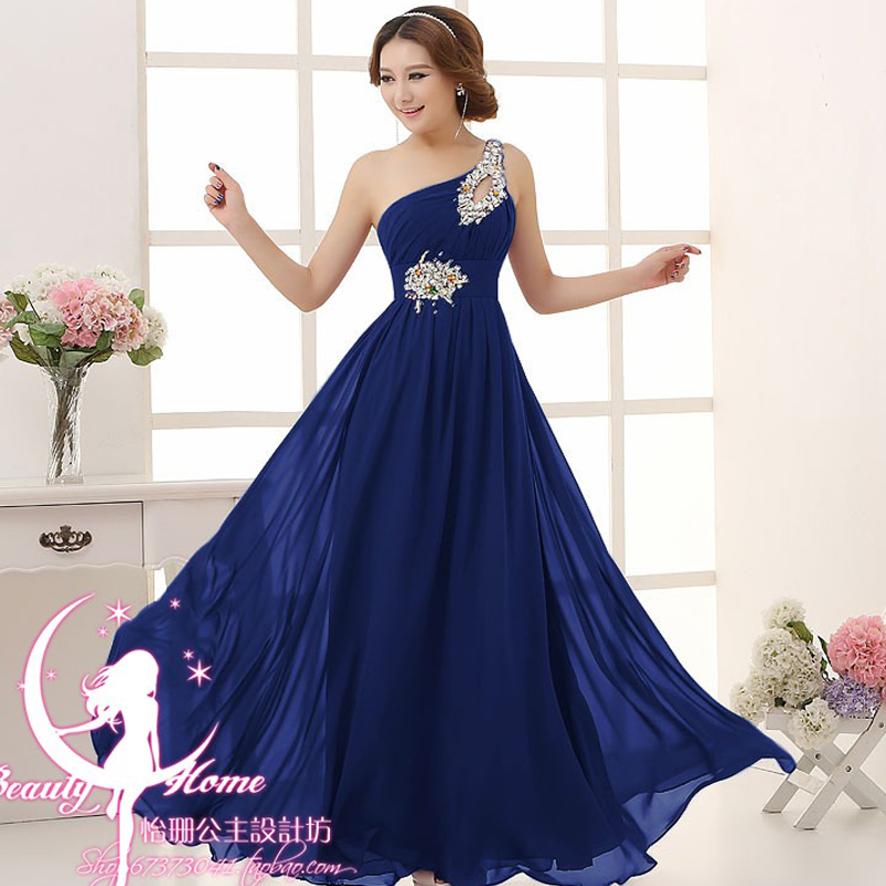Robe Demoiselle D'honneur HOT Chiffon Crystal One Shoulder A Line Royal Blue Purple Pink Mint Green Bridesmaid Dresses Long
