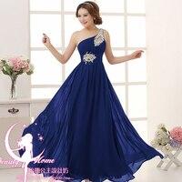 Robe demoiselle d'honneur HOT chiffon crystal one shoulder A Line Royal blue purple pink mint green bridesmaid dresses long