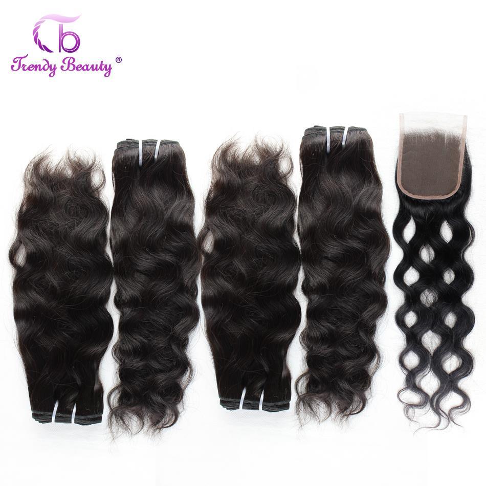 Na moda beleza onda natural feixes de cabelo humano com fecho 5 pçs/lote cabelo brasileiro tecer pacotes com fechamento não remy cabelo