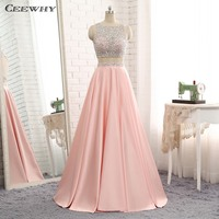 CEEWHY Two Pieces Pink Evenin Gown Muslim Evening Dress Bead Gown Prom Dresses Abendkleider Lange Kristall Vestido de Noche