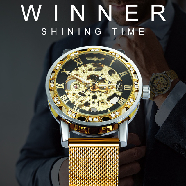 WINNER Fashion Top Brand Luxury Skeleton Dial Crystal Iced  1
