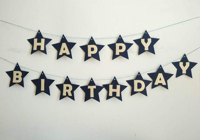 customize lovely star happy birthday letter banner flag birthday party decor baby shower hundred days decorative