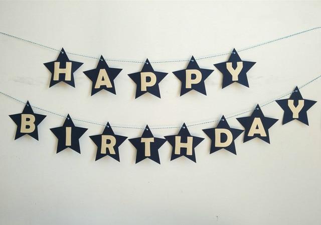 Customize lovely star happy birthday letter banner flag birthday