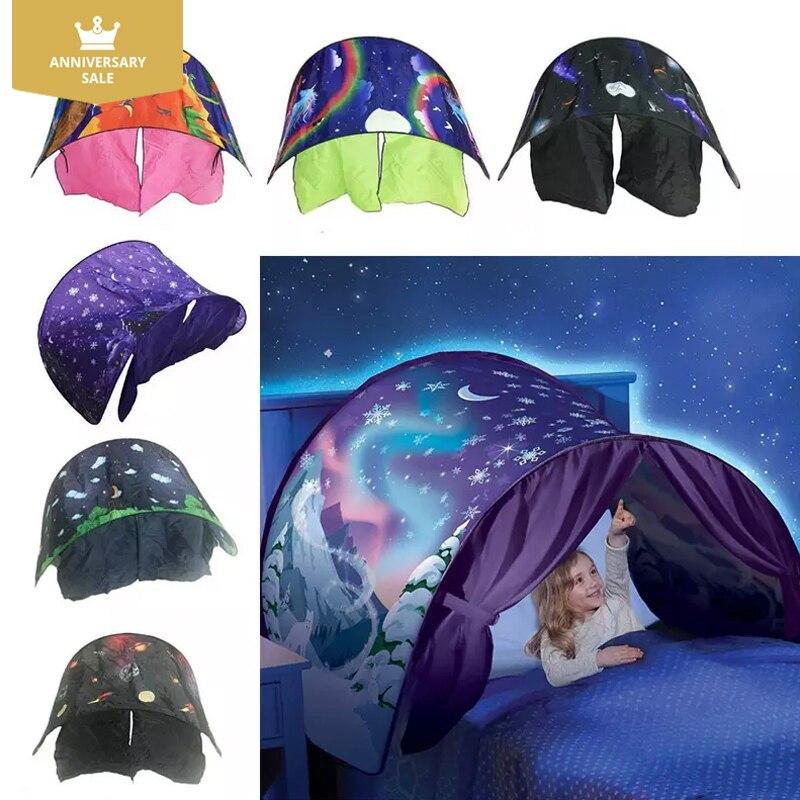 Kinder Zelt Baby Fantastische sterne Traum Zelt Fantasie Faltbare Einhorn Mond 82*220 cm Cosmic Raum Schnee Zelte Phantasie schlafen Prop