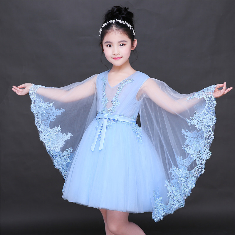 Appliques Flower Girl Dresses Bow-knot V-neck Kids Pageant Dress Evening for Party Birthday Hollow Out Princess Dress B29 цена