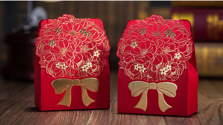Red Flower Wedding Gift Bag Box Decoration Fl Lover Party Sweet Packaging Gifts And Favors For Guest Guests In Bags Wring Supplies