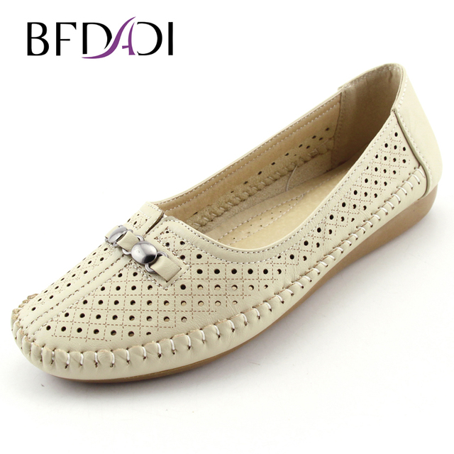 BFDADI 2016 Summer Hot Sale Casual Anti-skid  Women Flats Shoes Big Size 37-42 Boat Shoes White Black Beige Ladies Shoes B51