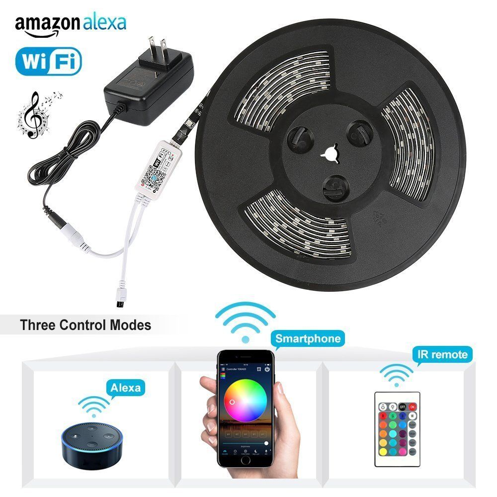 5M 5050 RGB WIFI LED Strip light Waterproof RGBW RGBWW Diode Tape 24Key Remote WIFI Wireless Controller 12V adapter Full Kit 5050 ip20 rgb led strip dc12v diode tape light with wireless wifi mini controller smart control 44 key ir remote controller