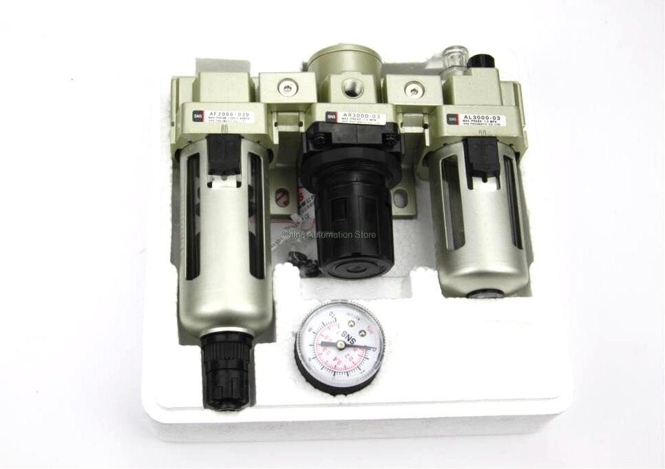 AC3000-03D G3/8'' Automatic Drain Type Air Source Treatment Unit Pneumatic Lubricator+Filter+Regulator pneumatic air filter regulator aw3000 03d 3 8 smc type air treatment unit automatic drain type