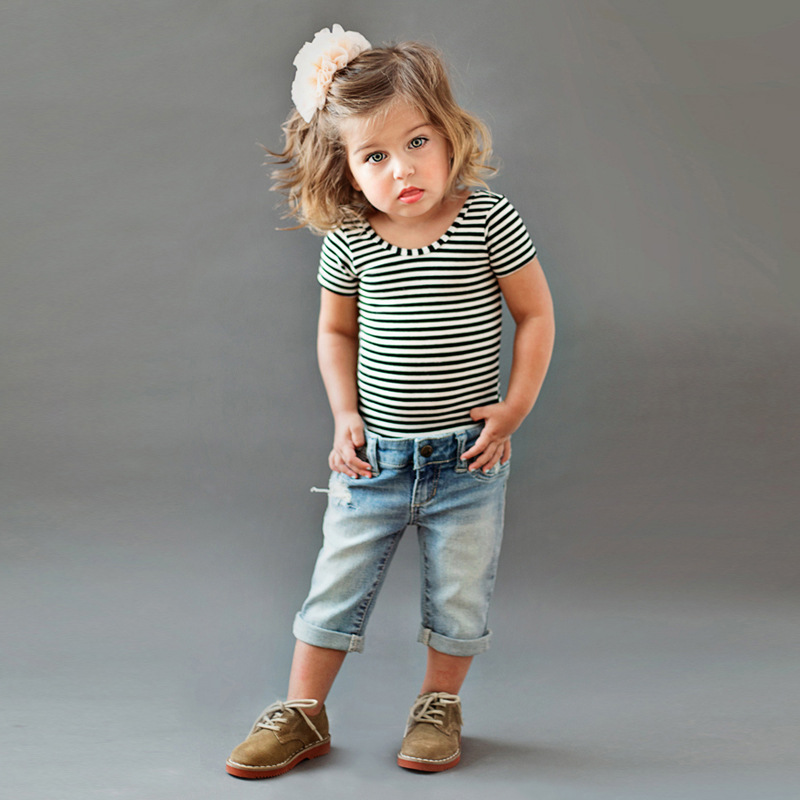 2017 Summer Kids Clothes Stripe Cotton Short T-shirt + Hole jeans 2pcs Girls Clothing Sets Roupas infantis Menina Girls Clothes family fashion summer tops 2015 clothers short sleeve t shirt stripe navy style shirt clothes for mother dad and children