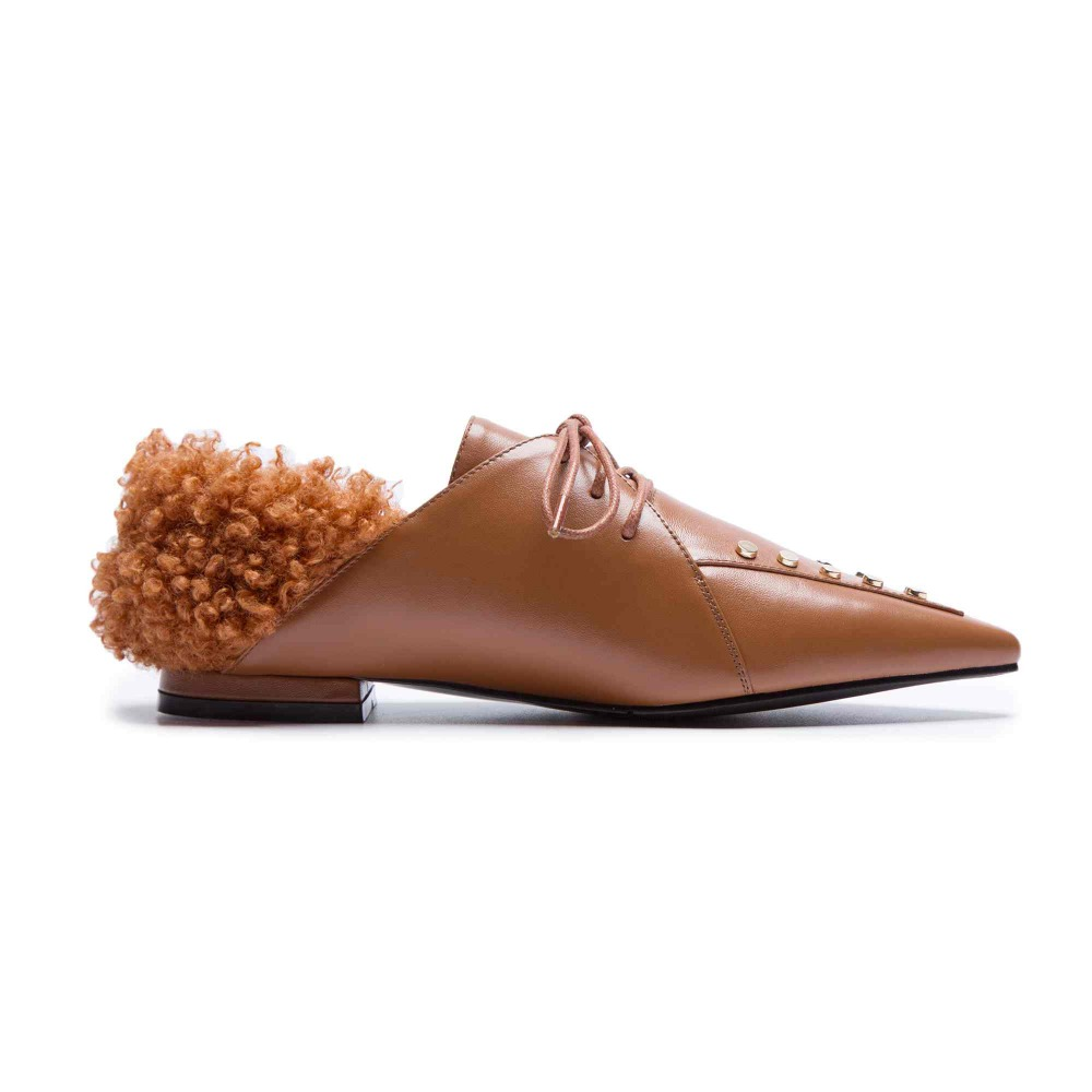 Otoño Hasta Decoración L30 Piel Planos Princesa Puntiagudos Señora Joven Oveja Genuino Negro marrón Remaches Pot Estilo Krazing De khaki Encaje Zapatos Nuevo Cuero SqwwPa0