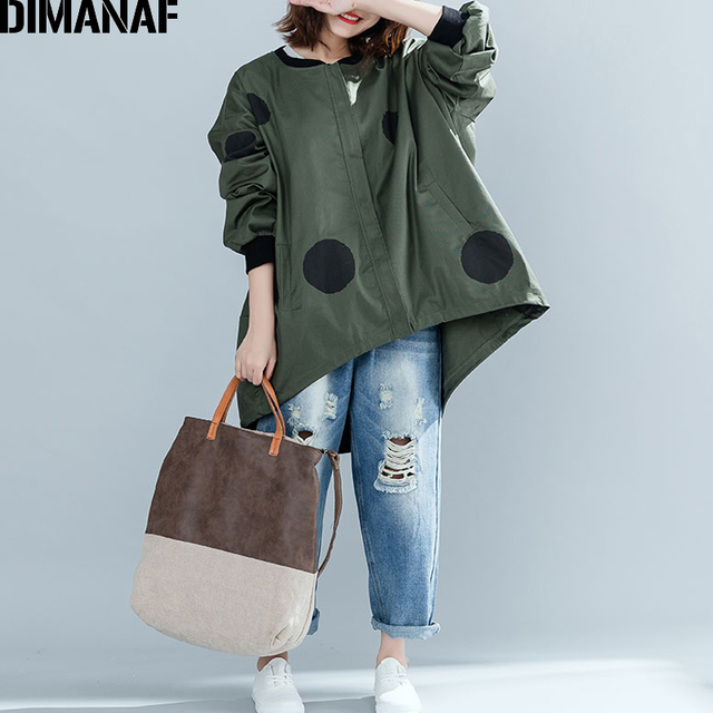 DIMANAF Women Jacket Coat Big Sizes Cardigan Zipper Female Clothes Loose Oversized Autumn Winter Outerwear Print Polka Dot 2018