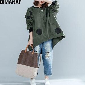 Image 1 - Dimanaf 2019 outono inverno mulheres polka dot casaco casaco tamanhos grandes cardigan com zíper roupas femininas solto oversized verde outerwear