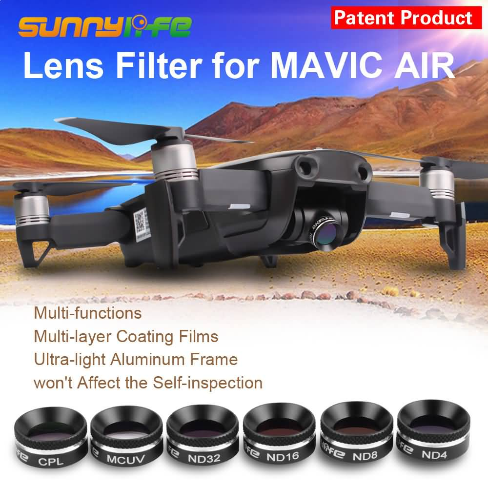Sunnylife MCUV CPL ND4 ND8 ND16 ND32 Lens Filter For DJI MAVIC AIR Filters UV Polarizer ND Gimbal Camera Lens Cover Sunhood