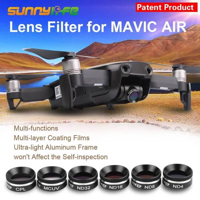 Sunnylife, filtro de lente de câmera dji mavic, filtros de ar, polarizador uv, lente de câmera nd4 nd8 nd16 nd32 capa do sol