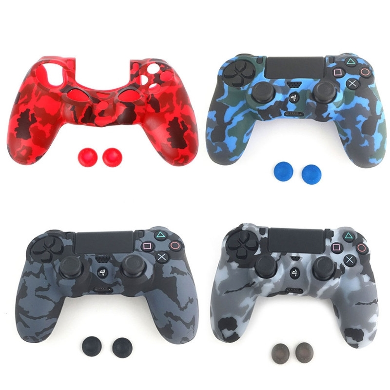 3-In-1 Anti-Slip Soft Camouflage Silicone Cover Skin <font><b>Case</b></font> + 2 Thumbsticks Caps For Sony <font><b>PS4</b></font> Pro Slim Controller image