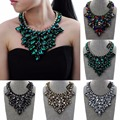 Fashion Jewelry Chain Glass Crystal Choker Statement Pendant Bib Necklace
